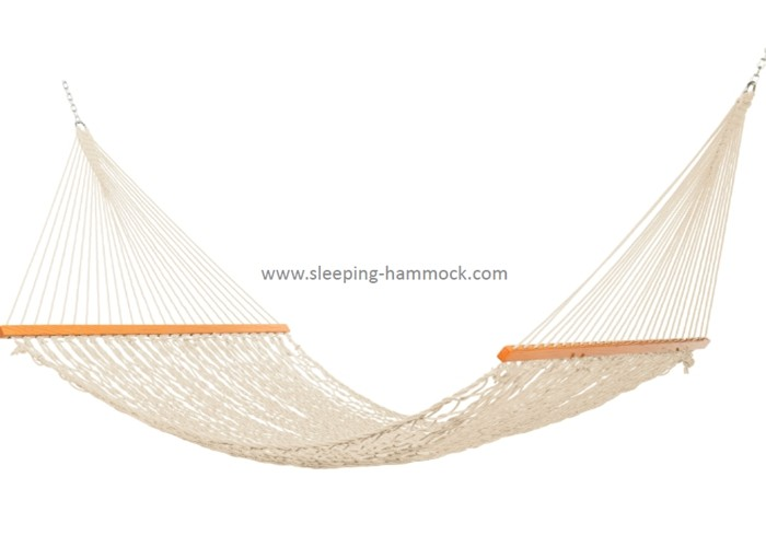 Extra Wide Double Rope Outdoor Polyester Rope Hammock Light Brown With Spreader Bars