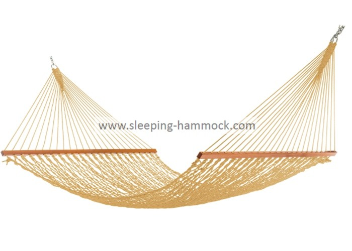 Collapsible Portable  Luxury Natural Rope Hammock Two Person Spreader Bars Tan Extra Wide