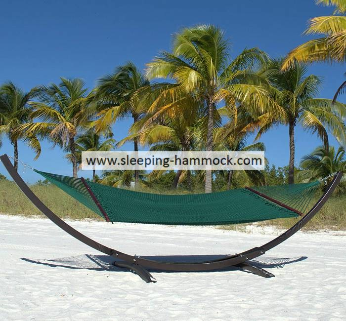 Extra Large Bow Green Caribbean Style Hammock Outdoor Portable , Heavy Duty Rope Hammock
