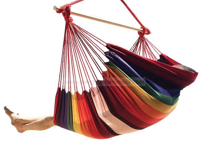 Large Single Person Garden Swing Brazilian Style Hammock Chair With Stand Poly Cotton Weave
