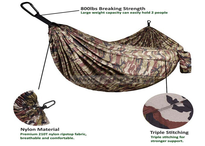 Portable Lightweight Double Camping Hammock , Camouflage Army Surplus Jungle Hammock Camo
